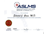 American Society for Laser Medicine and Surgery certificate for Dr. Gross