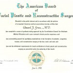 American Board of Facial Plastic and Reconstructive Surgery diploma