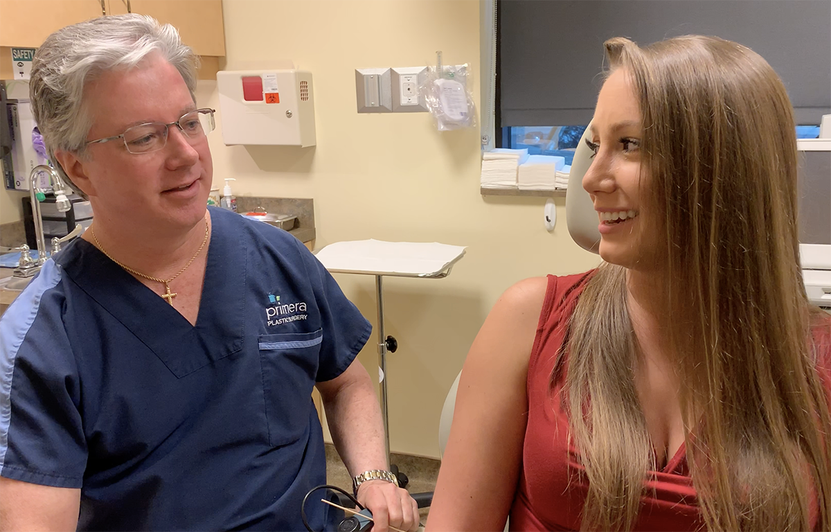 Dr. gross talking with actual patient Charli